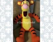Tigger, Tigger Stuffed Animal, Giant Tigger, Giant Stuffed Animal, Crochet Tigger, Handmade Tigger, Winnie the Pooh, Tigger Plush, Toy, Gift