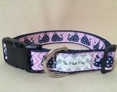 "Handmade Pink & Navy Whales 1"" Adjustable Dog Collar - MEDIUM"