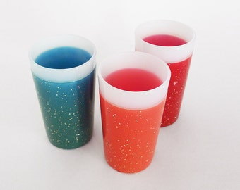 Mid Century Glamalite Fire King Tumblers / Three Rubber Coated Glitter Atomic Drinking Cups