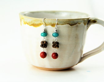 Copper Dangle Earrings with Turquoise Dyed Jade and Carved Wood Beads