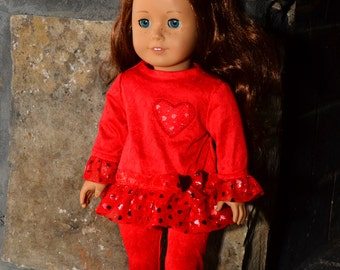 Happy Valentines Day to your special American Girl style doll.  4 piece outfit in red knit in an all over heart imprint