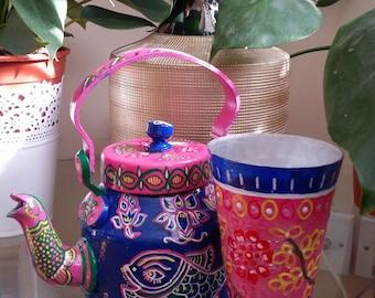 Hand Painted Madhubani Glasses and Kettles