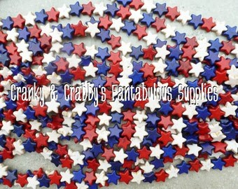 Star  Beads  Howolite  - 14mm or 20mm your choice  -  Red, white blue - Chunky Necklaces - Patriotic, 4th of July, USA