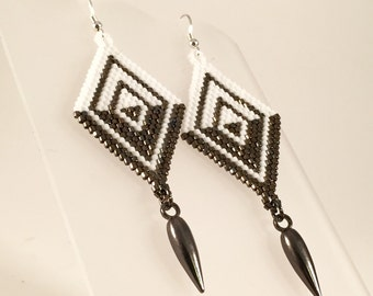 Demi Seed Bead Earrings, Abstract, Diamond Shaped