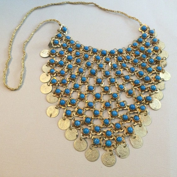 vintage bib necklace gold tone and blue in color statement