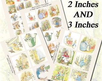 Beatrix Potter's Peter Rabbit Printables, EXTRA LARGE SQUARES, 1.5 inch, 2 inch, and 3 inch squares (38mm, 50mm, and 75 mm)