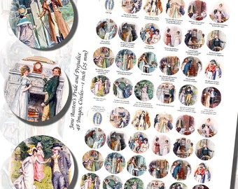 Jane Austen's Pride and Prejudice Printables by C.E. Brock, ONE INCH CIRCLES (25 mm), 3/4 inch (20mm) circles, and 1/2 inch (13mm) circles
