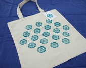Tote Bag, Market, Shopper Bag, Eco Friendly, Indian Wood Block Print, Flower, Long Handles, Light Weight