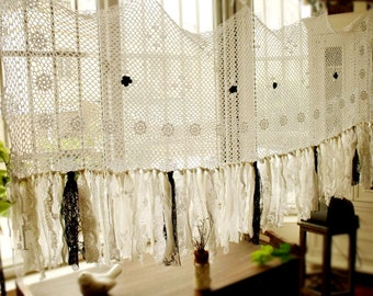 Moroccan curtains etsy for Cantonniere shabby chic