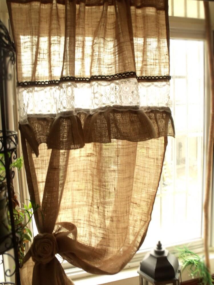 Custom Ruffled Rustic Burlap Window Curtain Panel White