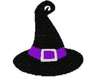 Halloween witches hat machine embroidery design 2 inch instant download