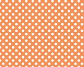 Polka Dot Fabric, Orange and White, Riley Blake, Cotton Sewing Material, Quilting, Clothing and Craft, Fat Quarter, By The Yard