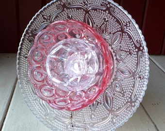 "Repurposed Glass Flower, Sun Catcher Glass Garden Art - ""Joslyn"" Bright Pink Crystal Glass Flower, Made from Glass Plates"