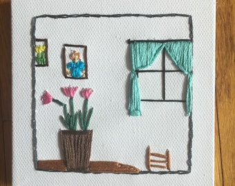 Flower Home Embroidery on Canvas, Hand Embroidery on Canvas Square, Modern Embroidered Wall Hanging, Springtime Embroidery