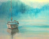 "Print, Contemporary Sailboat Painting ""Tranquility in the Morning"" Charleston"