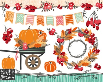 Fall wreath clipart, thanksgiving clipart, wagon with pumpkins, cart, autumn bunting, pumpkin picking, floral vine borders, red currants.