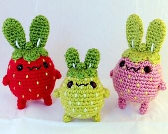 Strawberry Bunny Set - Amigurumi Plush Rabbit