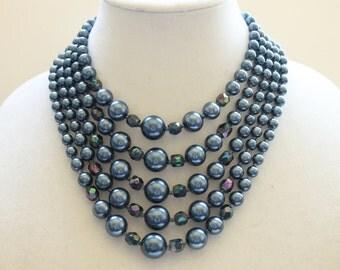 Vintage Blue Multi Strand Beaded Necklace, Midcentury Fashion, Circa 1960's