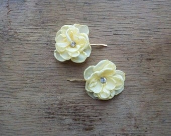 Small Pastel Yellow Flower Bobby Pins Wedding Flowers Bridal Pins Flower Girl Hair Clips