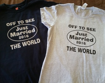 Just Married Off To See The World Couple T-shirts