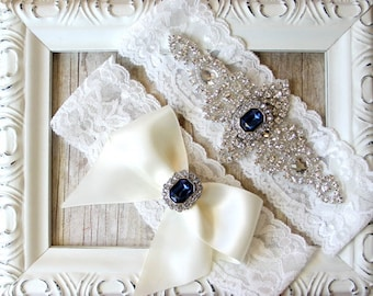 Garter - Customizable Gift Set, Wedding Garter Set, Bridal Garter Set, Vintage Wedding, Lace Garter, Crystal Garter Set - Style 001 A, Prom