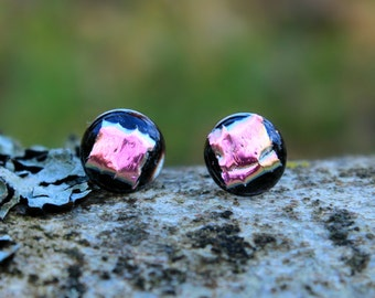 Pink dichroic glass stud earrings with sterling silver posts
