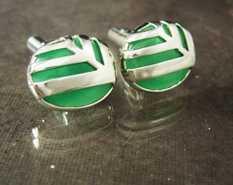 Vintage sterling cufflinks Vintage abstract Modernist SIGNED J&T fancy silver sides Vintage oriental asian jewelry airplane