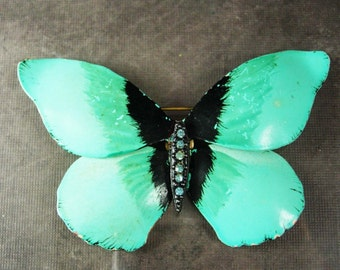 "Huge Brooch Distressed luminescent Butterfly Rich detail vintage Enamel Rhinestone costume jewelry 3 1/2"" wide"