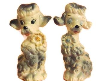 Vintage ceramic poodle salt & pepper shakers