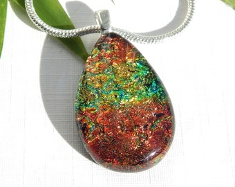 Fall Colours Dichroic Glass Pendant, Fused Glass Jewelry, Copper Gold and Green Dichroic Glass Droplet Necklace