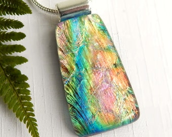 Glass Pendant - Multicolor Dichroic Glass Pendant - Fused Glass Jewelry - Pastel Rainbow Glass Necklace