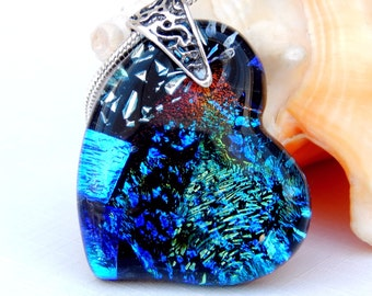Multicolor Dichroic Glass Heart Pendant - Fused Glass Jewelry - Random Mixed Art Glass Necklace - Sterling Silver Bail
