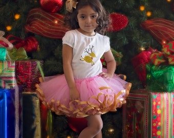 Reindeer Christmas outfit. Pink and Gold. Satin ribbon trimmed Petti tutu with reindeer glitter shirt
