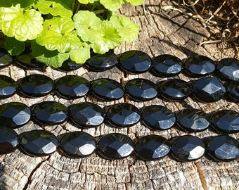 """1-16"""" Strand Beautiful Genuine Black Onyx Faceted Large Ovals 18mm x 25mm (16 Beads)"""