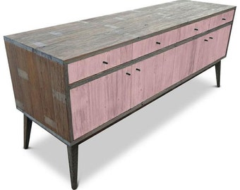 Modern Mid Century Retro Scandinavian Blush Pink Sideboard / Buffet / Entertainment Unit - Solid Timber, Recycled Wood