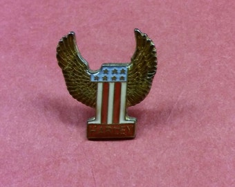 Vintage Harley Davidson Enamel Eagle #1 Hat Jacket Pin Stars & Stripes All American Motorcycle Biker Collectible