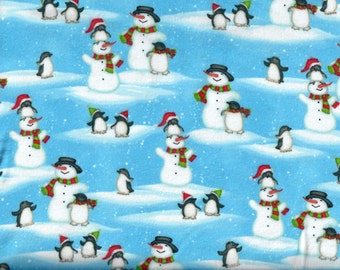 North Pole Greetings Scenic flannel snowmen and penguins in the snow - Elisabeth Jane for Studio e - by the continuous YARD