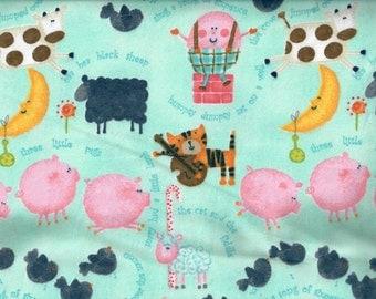 Nursery Rhyme flannel fabric - Humpty Dumpty, Three Little Pigs, Cow over the Moon, Ba Ba Black Sheep  - AE Nathan - by the YARD