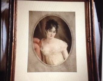 Antique portrait mezzotint print Lady after G Romney