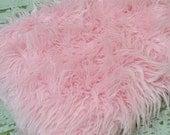 "3"" Pile Pink Fur Layering Piece For Newborn Photography Shoot, Newborn Photo Prop, Pink Fur Photo Prop, Pink Fur for Photography"