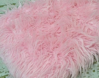 "3"" Pile Pink Fur Layering Piece For Newborn Photography Shoot, Newborn Photo Prop, Pink Fur Photo Prop, Pink Fur for Photography"