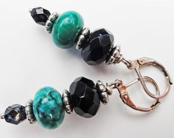 Green Earrings, GemstoneJewelrybyVal, Green Gemstone Earrings, Gemstone Earrings, Green and Black Gemstone Earrings,