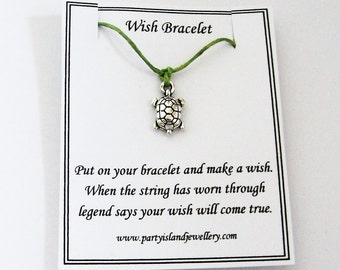 GREEN TURTLE TORTOISE Friendship Wish Bracelet with Wish Message Card