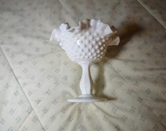 ON SALE  Vintage Milk Glass Compote Hobnail Design