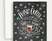 Irish Coffee Recipe Note Card - Hand Lettered Card - St. Patrick's Day Card - Recipe Illustration - Chalkboard Card - Chalk Art