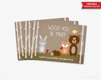Woodland Valentines Card Printable Wood You Be Mine Forest Animals Forest Friends Kids Valentines Cards Classroom Valentines Personalized