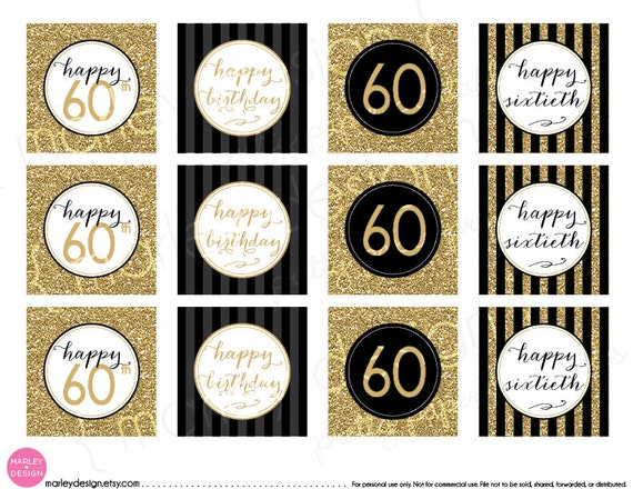 60th Birthday Toppers Black Gold Glitter 60th Birthday Decor