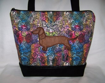 "New ""LOVE"" -  Appliqued Red/Brown Dachshund - Wiener Dog Handbag-Purse-Bag"