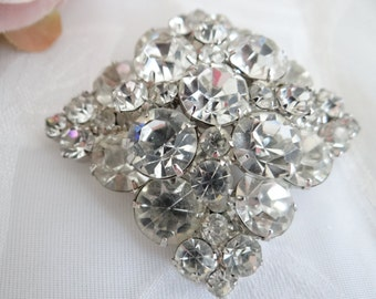Stunning Antique Clear Faceted Rhinestone Square Brooch on a Silver Tone Setting - Exquisite Vintage Jewelry