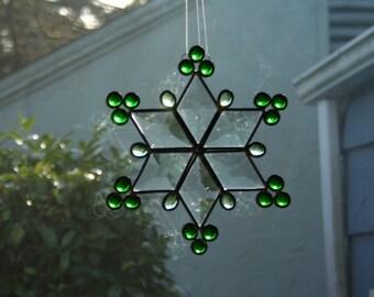 Stained Glass Bevel Snowflake,Green, Suncatcher, Ornament